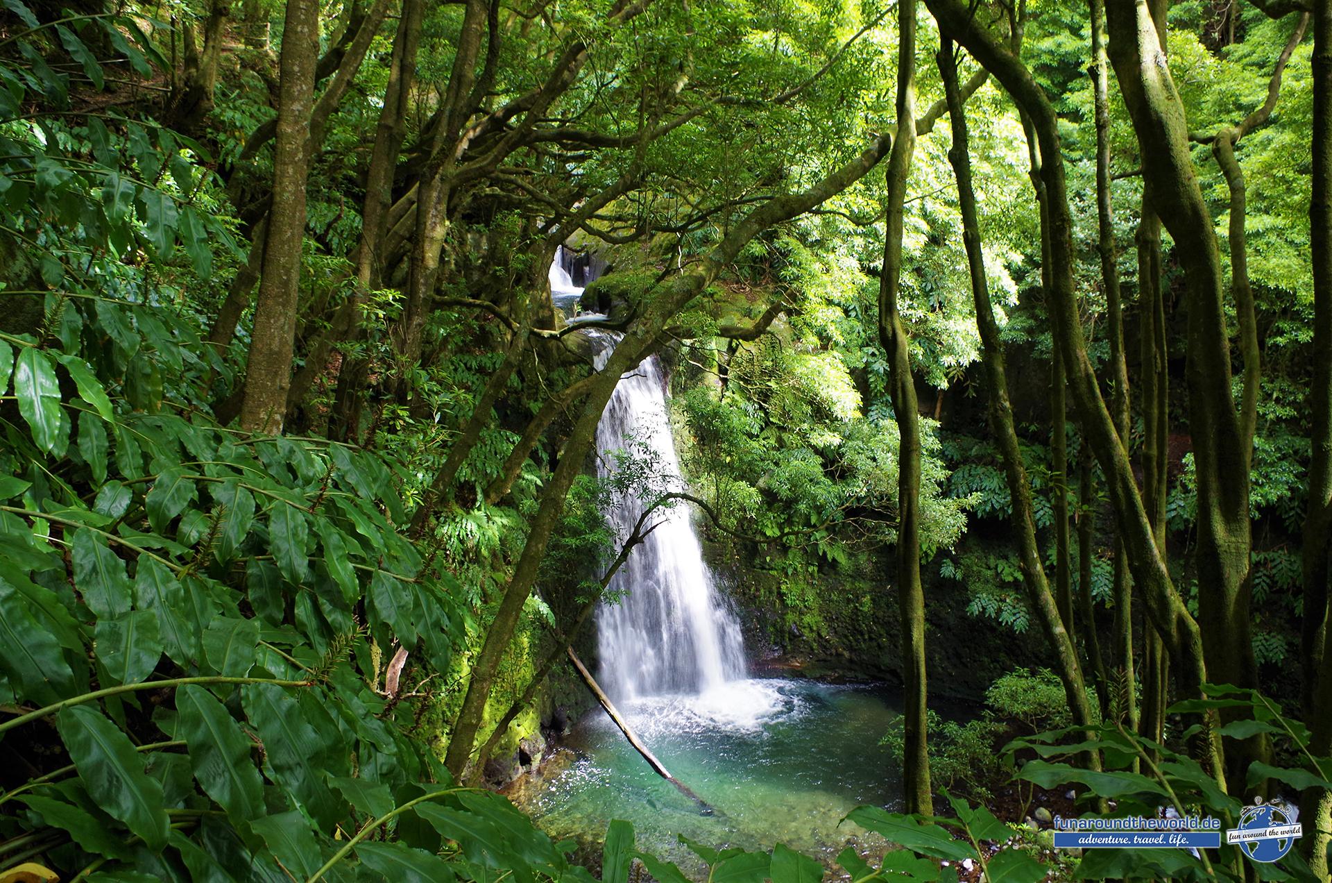 Wanderungen abseits der Touristenpfade entlang zahlreicher Wasserfälle auf Sao Miguel bei Faial da Terra