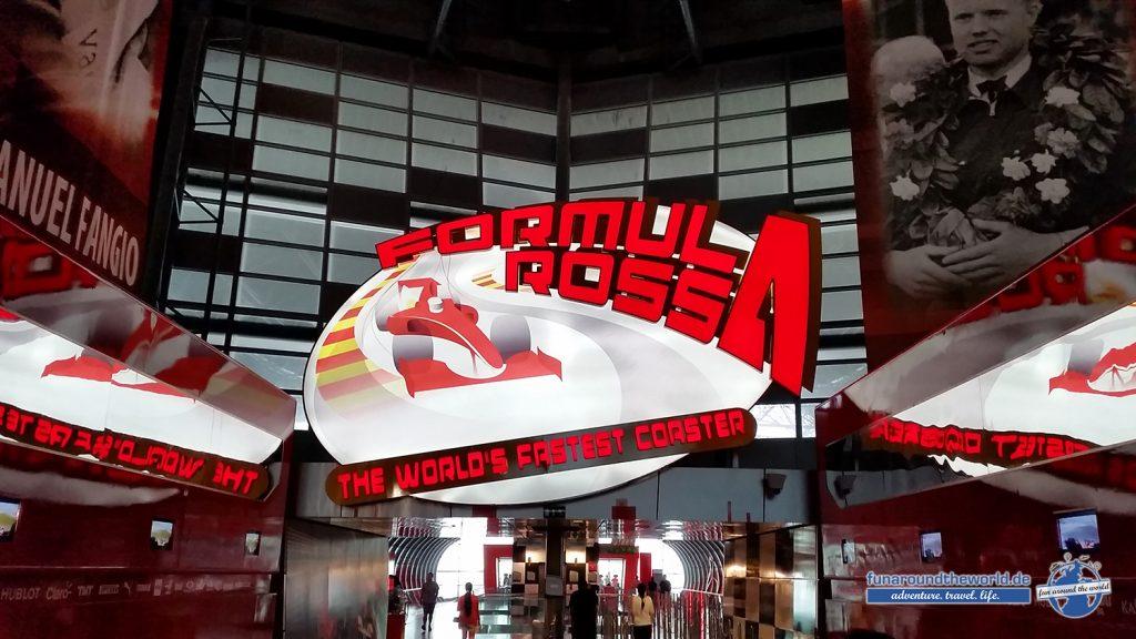 Formula Rossa Eingang in der Ferrari World Abu Dhabi